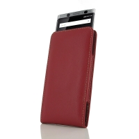 Leather Vertical Pouch Case for BlackBerry KEYone | Mercury | DTEK70 (Red)