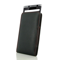 Leather Vertical Pouch Case for BlackBerry KEYone | Mercury | DTEK70  (Red Stitch)