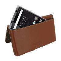 Leather Wallet Pouch for BlackBerry KEYone | Mercury | DTEK70 (Brown)