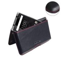 Leather Wallet Pouch for BlackBerry KEYone | Mercury | DTEK70 (Red Stitch)