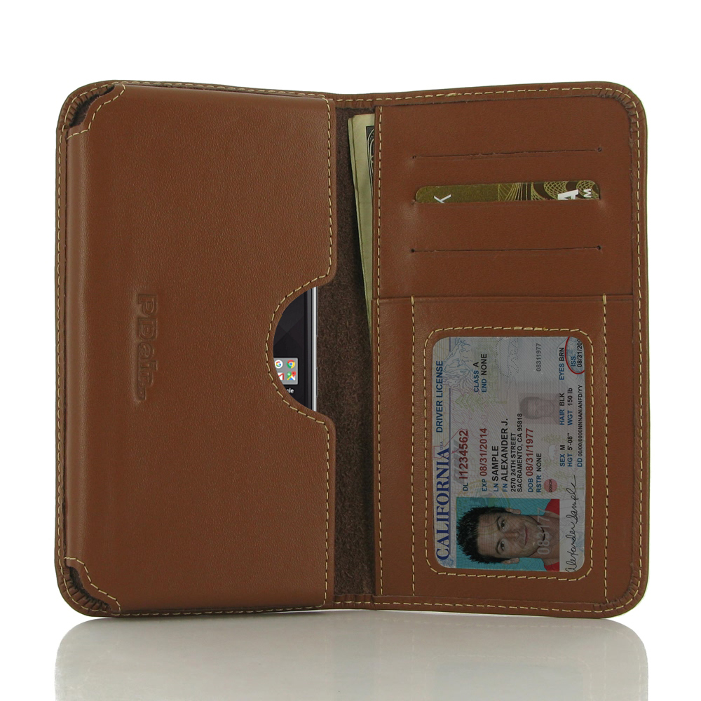 BlackBerry Mercury Leather Wallet Sleeve Case (Brown) Credit Card Slot