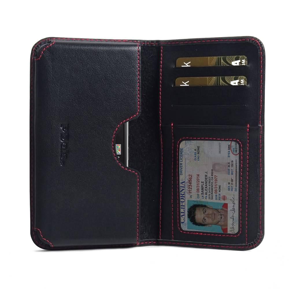 Leather Card Wallet for BlackBerry KEYone | Mercury | DTEK70 (Red Stitch)