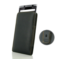 Leather Vertical Pouch Belt Clip Case for BlackBerry KEYone | Mercury | DTEK70  (Orange Stitch)
