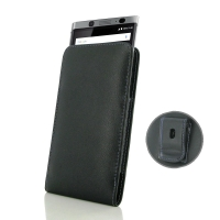 Leather Vertical Pouch Belt Clip Case for BlackBerry KEYone | Mercury | DTEK70 (Purple Stitch)