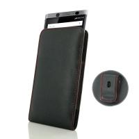 Leather Vertical Pouch Belt Clip Case for BlackBerry KEYone | Mercury | DTEK70  (Red Stitch)