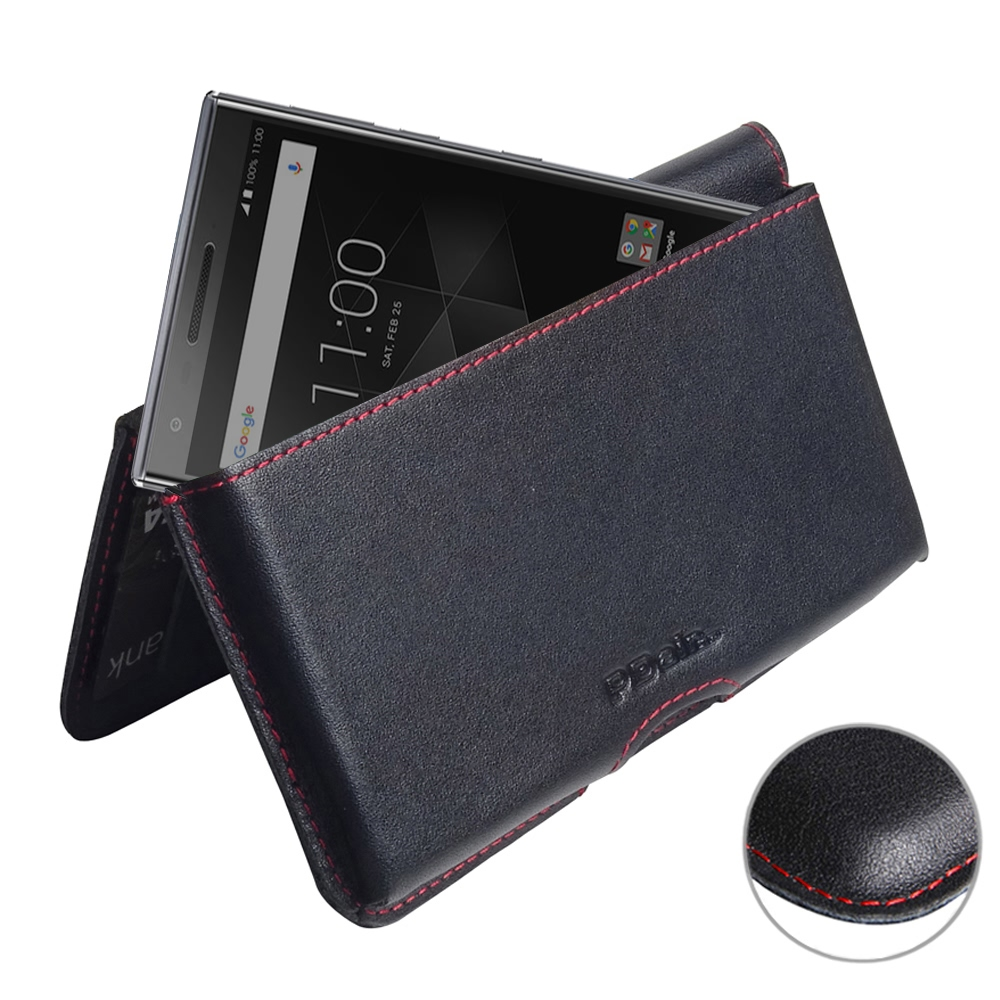Leather Wallet Pouch for BlackBerry Motion (Red Stitch)