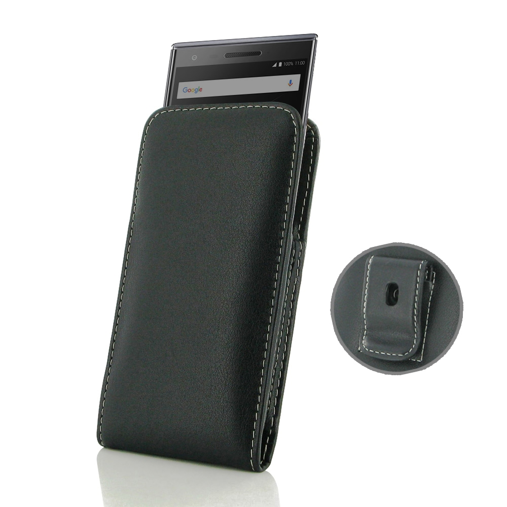 Leather Vertical Pouch Belt Clip Case for BlackBerry Motion