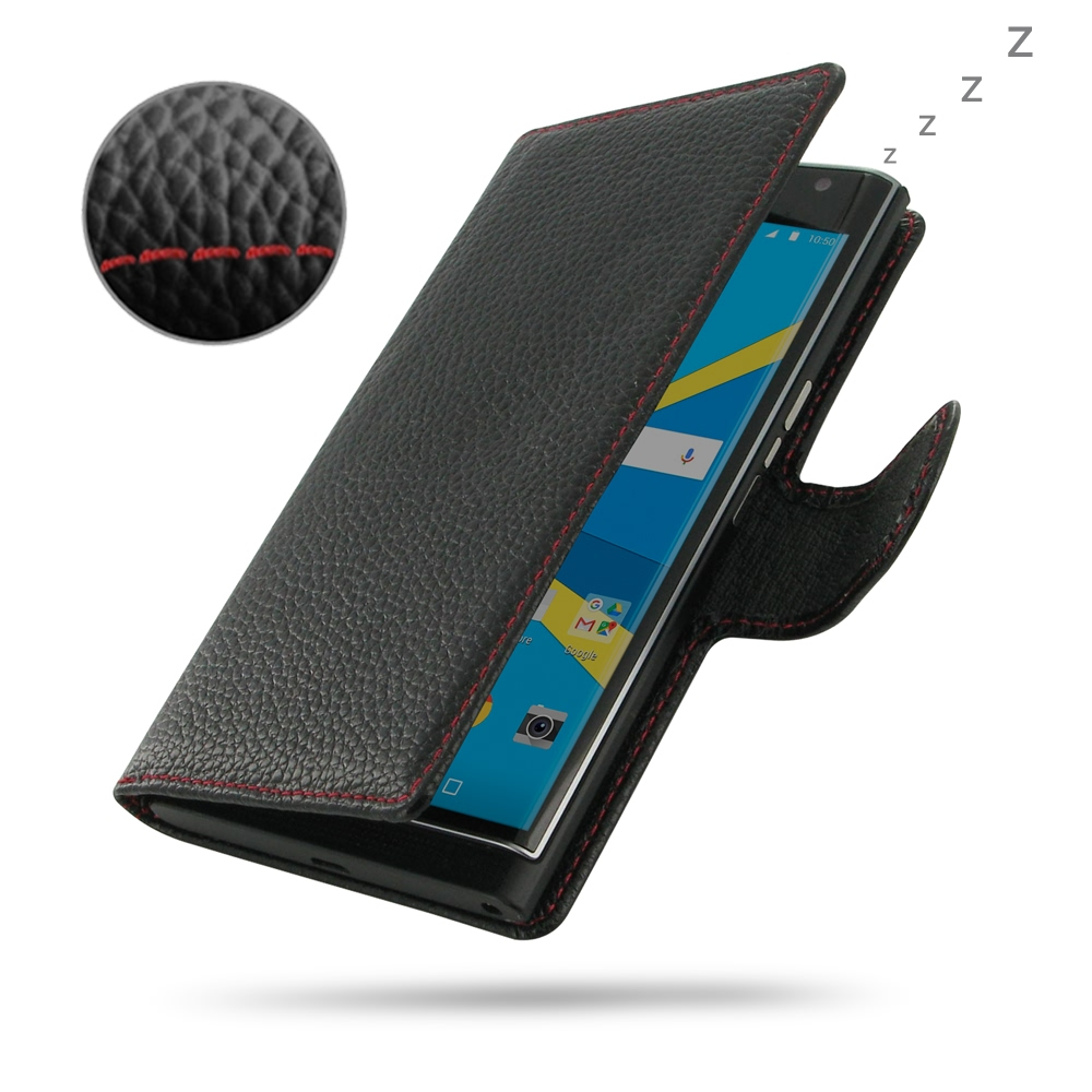 BlackBerry Priv Leather Flip Wallet Cover (Red Stitching) PDair Premium Hadmade Genuine Leather Protective Case Sleeve Wallet