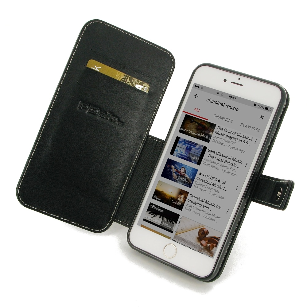 iphone 8 plus leather flip wallet cover pdair sleeve. Black Bedroom Furniture Sets. Home Design Ideas