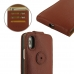 iPhone XS Leather Flip Top Wallet Case (Brown Pebble Leather) top quality leather case by PDair