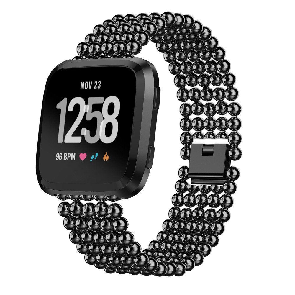 Bracelet Genuine Five Round Beads Alloy Watch Band Wrist Strap for Apple Watch Series 4 44mm (Black)