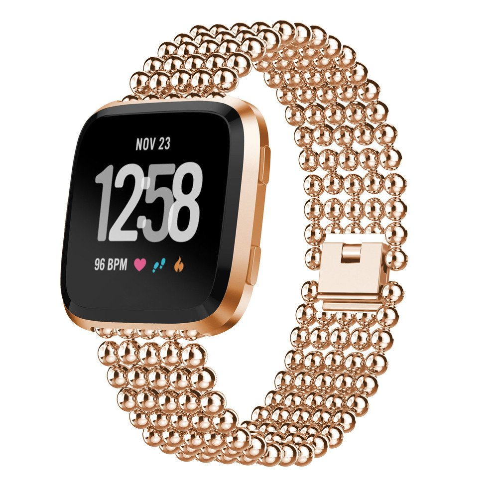 Apple Watch Series 5 | Series 4 44mm Bracelet Genuine Five Round Beads Alloy Watch Band Wrist Strap (Rose Gold) is designed to wear fashionable look to your device. Handmade Fashion Alloy solid with interlock clasp design, make your smartwatch looks speci