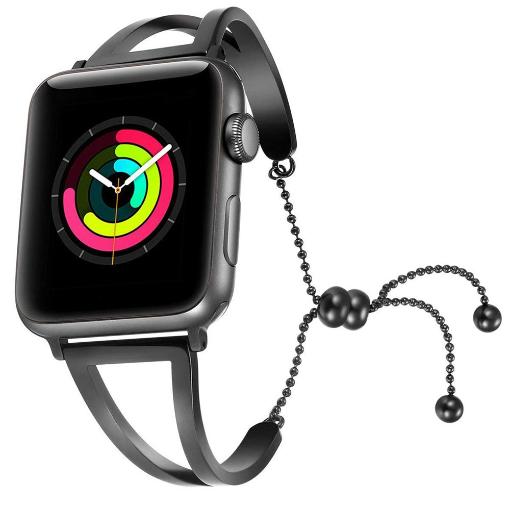 Apple Watch Series 5 | Series 4 44mm Bracelets Pendant Metal Hollow Wrist Strap (Black) is designed to wear fashionable look to your device. Handmade Fashion Alloy solid with interlock clasp design, make your smartwatch looks special and nice. Contracted