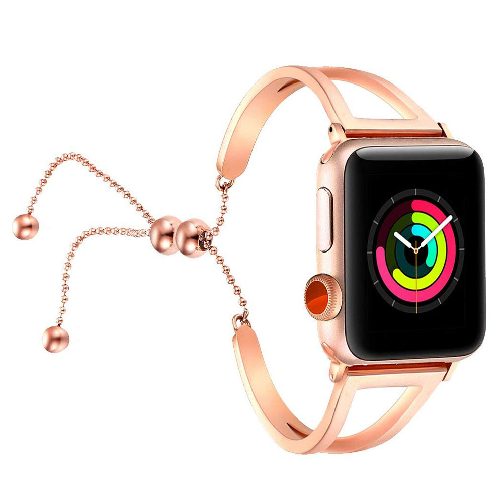Bracelets Pendant Metal Hollow Wrist Strap for Apple Watch Series 4 44mm (Rose Gold)
