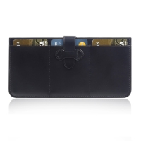 Leather British Bridle Wallet Card Holder (Black) PDair Premium Hadmade Genuine Leather Protective Case Sleeve Wallet