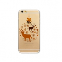 Brown Reindeer Snowflakes Deer Snow Christmas iPhone 6s 6 Plus SE 5s 5 Pattern Printed Soft Case