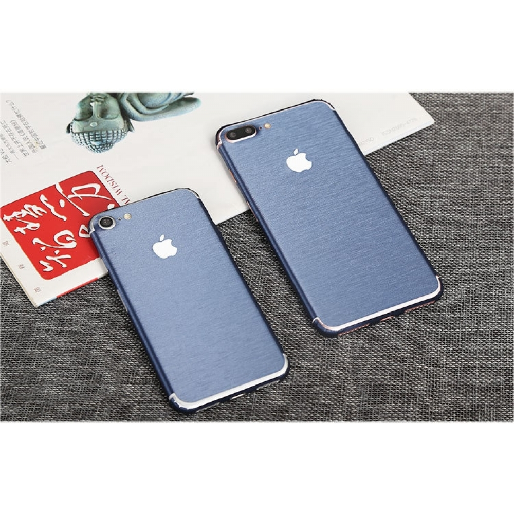 10% OFF + FREE SHIPPING, Buy PDair Top Quality Brushed Aluminum Surface iPhone Decal Wrap Skin Set (Blue) which is available for iPhone 7, iPhone 7 plus. You also can go to the customizer to create your own stylish leather case if looking for additional c