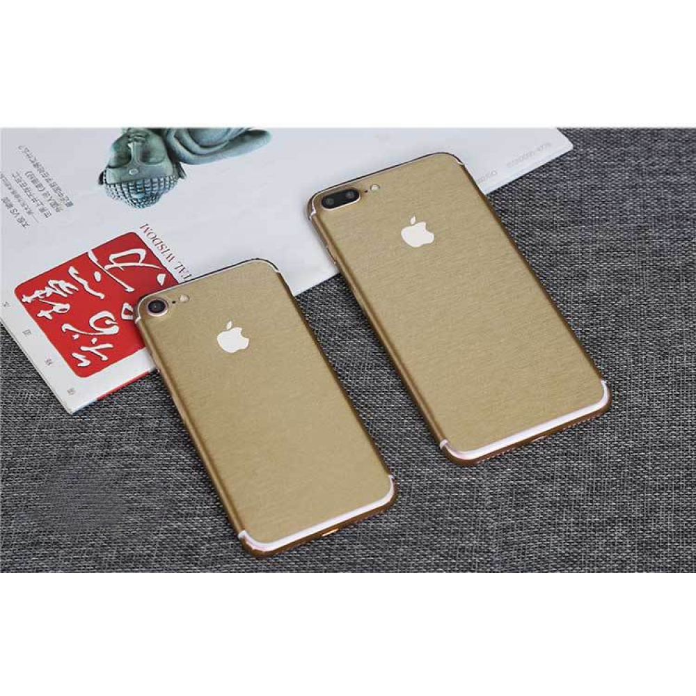 10% OFF + FREE SHIPPING, Buy PDair Top Quality Brushed Aluminum Surface iPhone Decal Wrap Skin Set (Gold) which is available for iPhone 7, iPhone 7 plus. You also can go to the customizer to create your own stylish leather case if looking for additional c