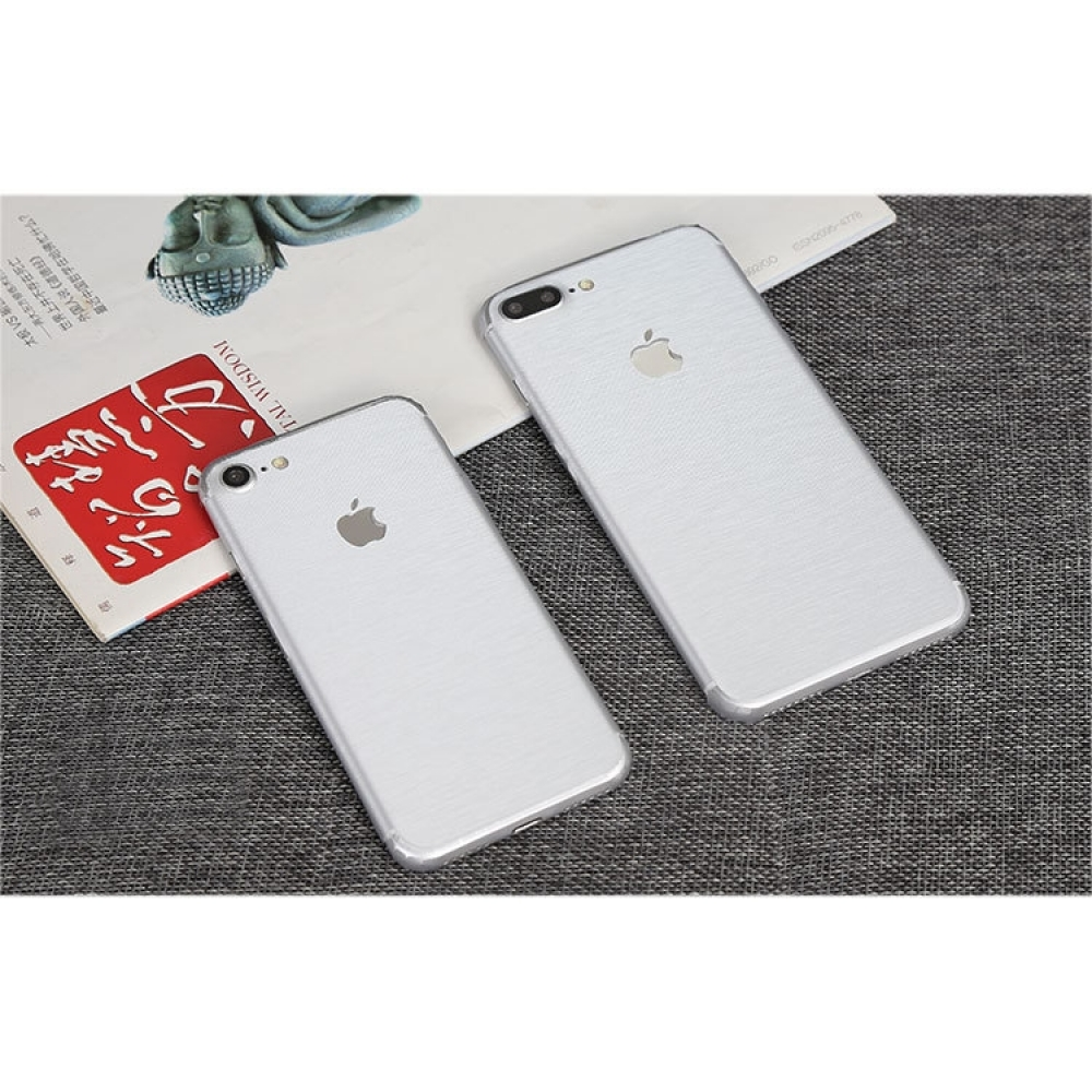 10% OFF + FREE SHIPPING, Buy PDair Top Quality Brushed Aluminum Surface iPhone Decal Wrap Skin Set (White) which is available for iPhone 7, iPhone 7 plus. You also can go to the customizer to create your own stylish leather case if looking for additional