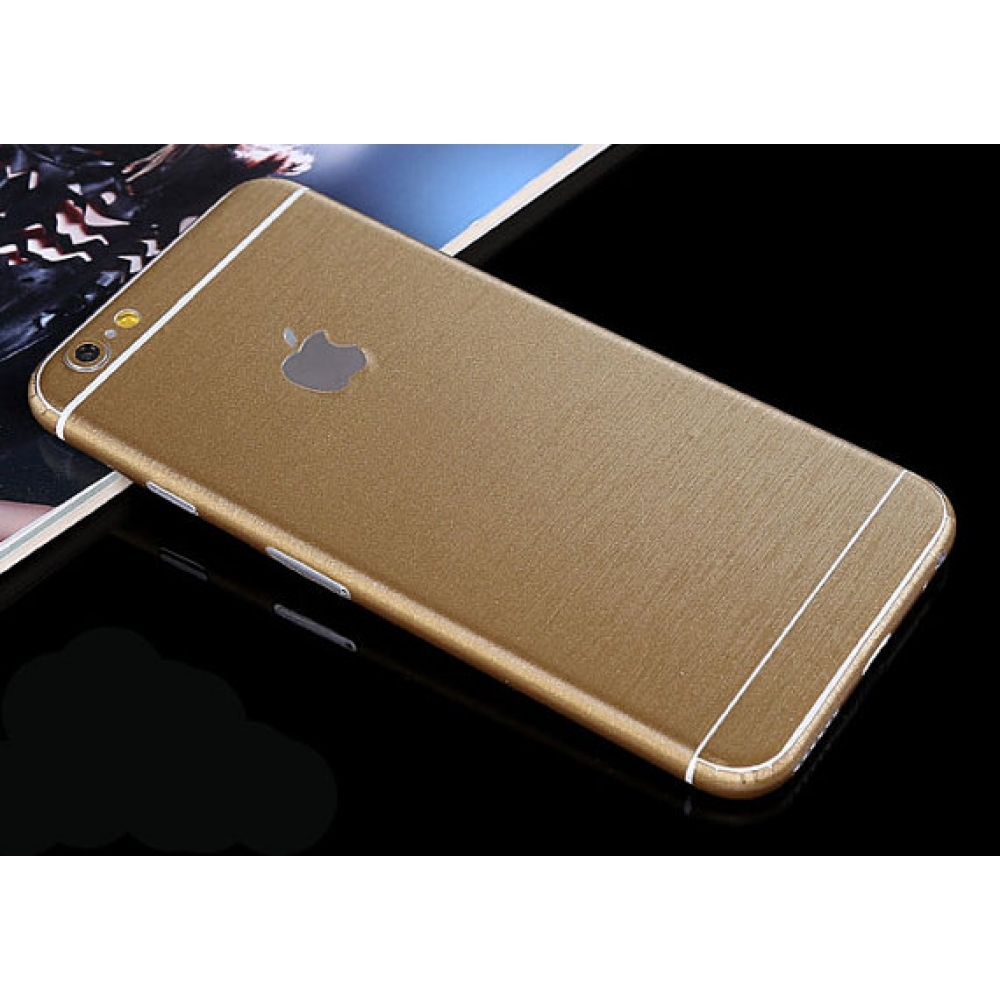 10% OFF + FREE SHIPPING, Buy PDair Brushed Aluminum Surface iPhone Decal Wrap Skin Set Gold which is available for iPhone 6 | iPhone 6s, iPhone 6 Plus | iPhone 6s Plus, iPhone 5 | iPhone 5s SE You also can go to the customizer to create your own stylish l