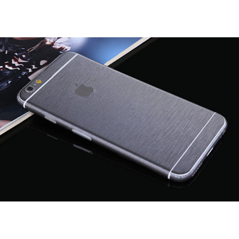 10% OFF + FREE SHIPPING, Buy PDair Brushed Aluminum Surface iPhone Decal Wrap Skin Set Silver Grey which is available for iPhone 5 | iPhone 5s SE 6 6s, iPhone 6 Plus | iPhone 6s Plus You also can go to the customizer to create your own stylish leather cas