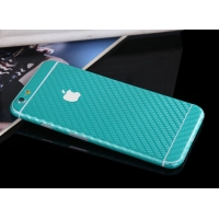 Carbon Fiber iPhone 6s 6 Plus Decal Wrap Skin Set (Aqua)
