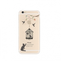 Cat Bird Cage iPhone 6s 6 Plus SE 5s 5 Pattern Printed Soft Case