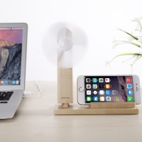 Wood Stand Holder With USB Fan for Smartphone, iPhone or Cell Phone by :: PDair