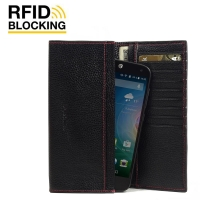 Continental Leather RFID Blocking Wallet Case for Acer Liquid Z630 (Black Pebble Leather/Red Stitch)