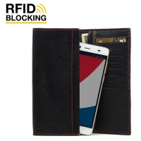 Continental Leather RFID Blocking Wallet Case for Pepsi Phone P1 P1s (Black Pebble Leather/Red Stitch)