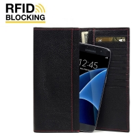 Continental Leather RFID Blocking Wallet Case for Samsung Galaxy S7 edge (Black Pebble Leather/Red Stitch)