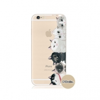 Cutie Cat White Black iPhone 6s 6 Plus SE 5s 5 Pattern Printed Soft Case