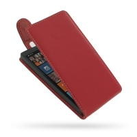 Nokia Lumia 930 Leather Flip Top Carry Case (Red) PDair Premium Hadmade Genuine Leather Protective Case Sleeve Wallet