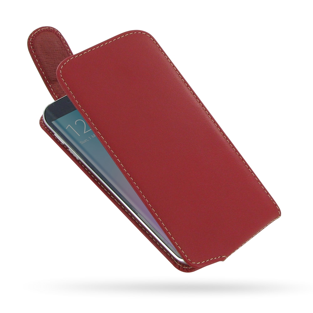 samsung galaxy s6 edge leather flip top carry case red. Black Bedroom Furniture Sets. Home Design Ideas