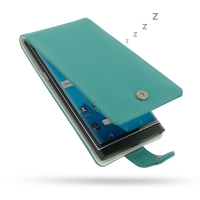 BlackBerry Priv Leather Flip Wallet Case (Aqua) PDair Premium Hadmade Genuine Leather Protective Case Sleeve Wallet