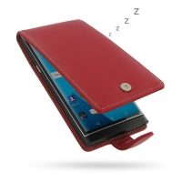 BlackBerry Priv Leather Flip Wallet Case (Red) PDair Premium Hadmade Genuine Leather Protective Case Sleeve Wallet
