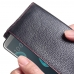 Continental Leather RFID Blocking Wallet Case for HTC Desire 12 Plus | Desire 12+ (Black Pebble Leather/Red Stitch)
