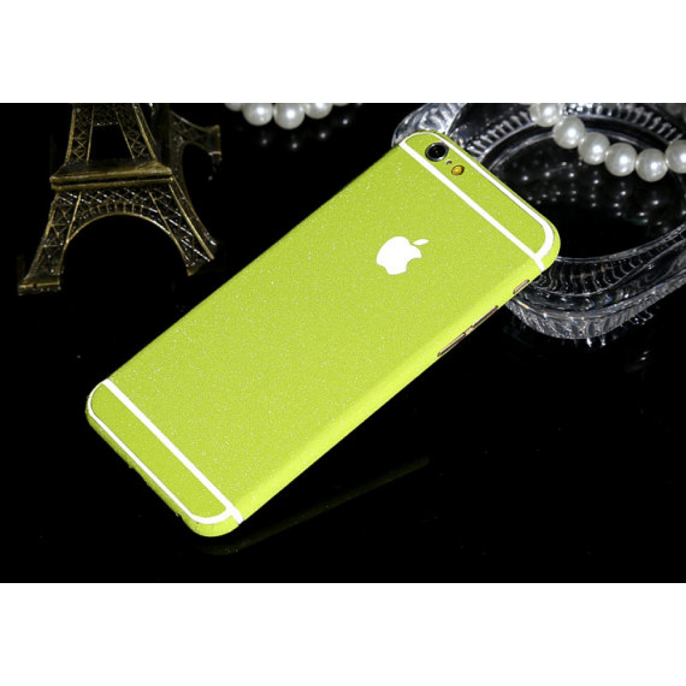 10% OFF + FREE SHIPPING, Buy PDair Frosted Sparkle iPhone Decal Wrap Skin Set Lime which is available for iPhone 5 | iPhone 5s, iPhone 6 | iPhone 6s, iPhone 6 Plus | iPhone 6s Plus, iPhone SE. You also can go to the customizer to create your own stylish l