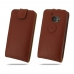 HTC 10 Leather Flip Top Case (Brown Pebble Leather) protective carrying case by PDair
