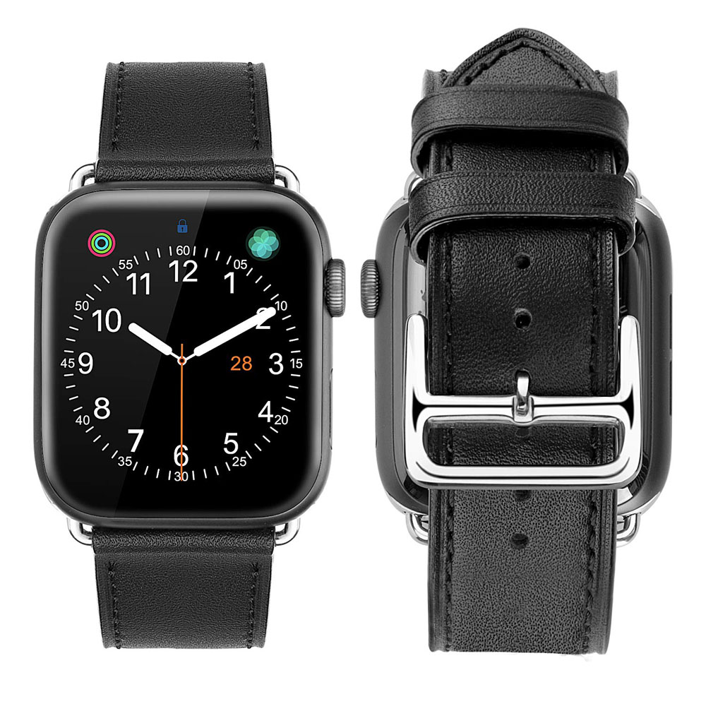 Apple Watch Series 5 | Series 4 44mm Premium Genuine Leather Strap Watch Bands (Black) is designed to wear fashionable look to your device. It can personalize your iWatch with this refined strap compared to Apple ones, but more attractive cost. Premium so