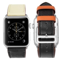Genuine Leather Strap Watch Bands for Apple Watch Series 2 38mm (Indigo Orange)