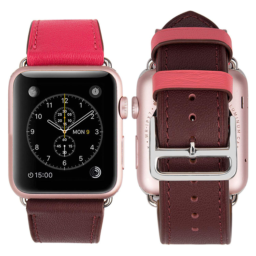 Genuine Leather Strap Watch Bands for Apple Watch Series 1 38mm (Rose Pink)