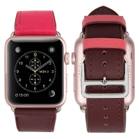 Genuine Leather Strap Watch Bands for Apple Watch Series 4 44mm (Rose Pink)