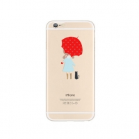 Girl Bring Red Umbrella iPhone 6s 6 Plus Pattern Printed Soft Case