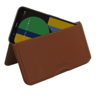 Leather Wallet Pouch for Google Pixel 4 (Brown)