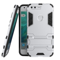 Google Pixel XL Tough Armor Protective Case (Silver) :: PDair