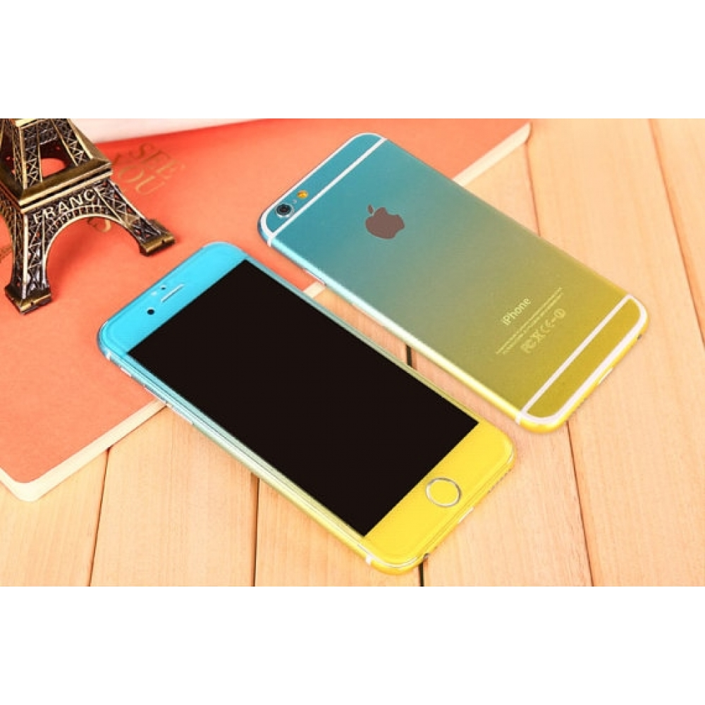 10% OFF + FREE SHIPPING, Buy PDair Gradient iPhone Decal Wrap Skin Set (Yellow to Aqua) which is available for iPhone 6 | iPhone 6s, iPhone 6 Plus | iPhone 6s Plus, iPhone 5 | iPhone 5s SE. You also can go to the customizer to create your own stylish leat