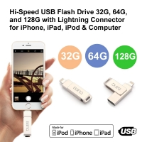 Hi-Speed USB Flash Drive 32GB, 64GB and 128GB with Lightning Connector for iPhone, iPad, iPod & Computer (Pearl Silver)