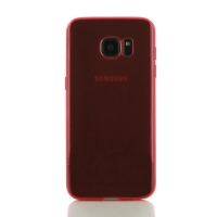 Samsung Galaxy S7 edge Transparent Soft Gel Case (Red) PDair Premium Hadmade Genuine Leather Protective Case Sleeve Wallet