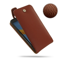 HTC 10 Leather Flip Top Case (Brown Pebble Leather) PDair Premium Hadmade Genuine Leather Protective Case Sleeve Wallet